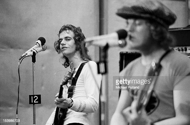 Jim Lea and Noddy Holder of British rock band Slade recording a song at Command Studios London October 1971