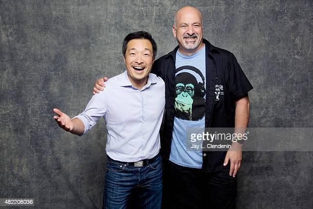 Jim Lee and Dan DiDio of DC Comics poses for a portraits at ComicCon International 2015 for Los Angeles Times on July 9 2015 in San Diego California...
