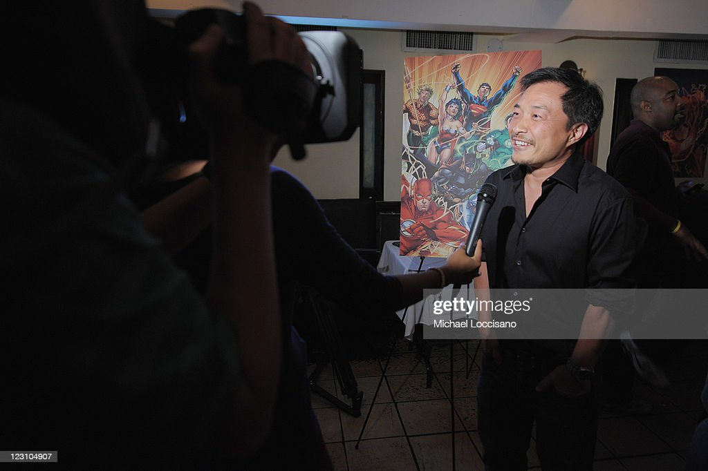 Jim Lee, artist and co-publisher of DC Comics speaks during the Midnight Madness event celebrating the release of New No. 1 issue of 'Justice League' at Mid Town Comics on August 30, 2011 in New York City.