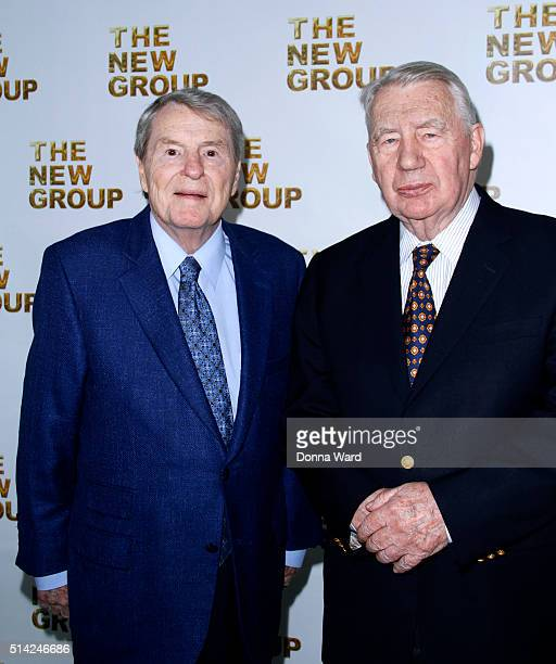 Jim Lehrer and Robert MacNeil attend the 2016 New Group Gala at Tribeca Rooftop on March 7 2016 in New York City
