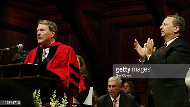 Jim Lehrer Journalist is applauded by Larry Summers Harvard University president