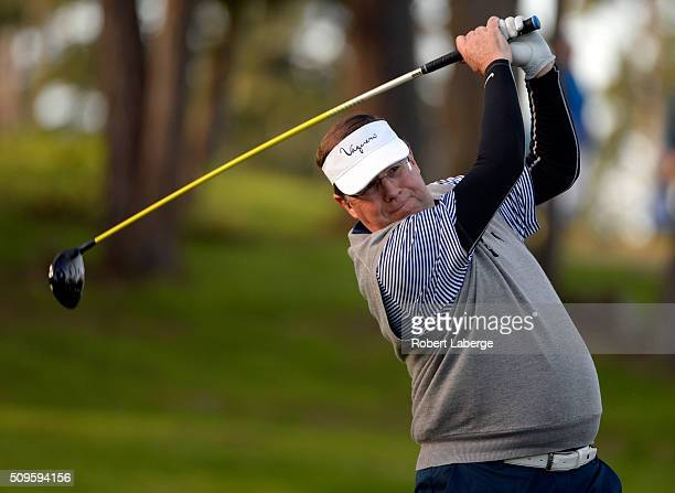 Jim Lentz CEO of Toyota North America plays his tee shot on the 11th hole during the first round of the ATT Pebble Beach National ProAm at the...