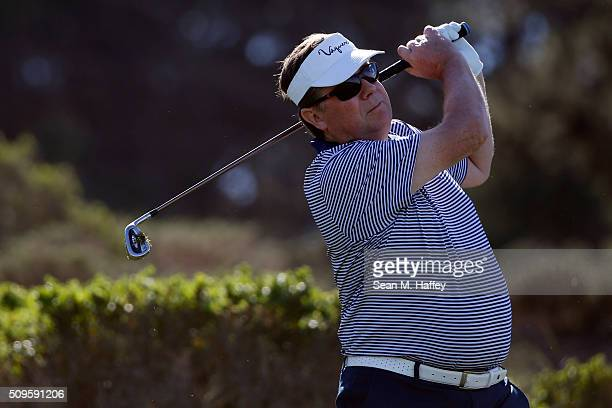 Jim Lentz CEO of Toyota North America plays his tee shot on the third hole during the first round of the ATT Pebble Beach National ProAm at the...