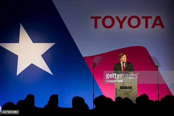 Jim Lentz CEO of Toyota North America speaks during the Toyota 'Hello Texas' event on October 27 2014 in Plano Texas