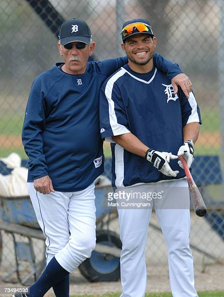 Jim Leyland and Ivan Rodriguez of the Detroit Tigers look on during Spring Training work outs on February 26 2007 at Joker Marchant Stadium in...