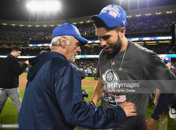 Jim Leyland manger for team United States celebrates with Eric Hosmer after their 80 win over team Puerto Rico during Game 3 of the Championship...