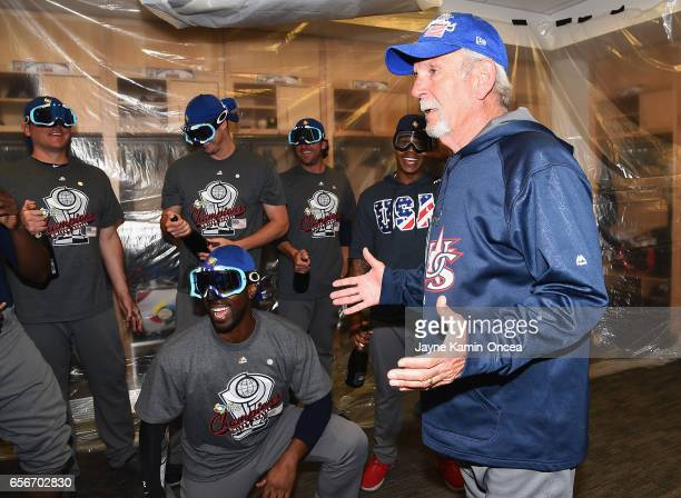 Jim Leyland manger for team United States talks to the team in the locker room after their 80 win over team Puerto Rico during Game 3 of the...