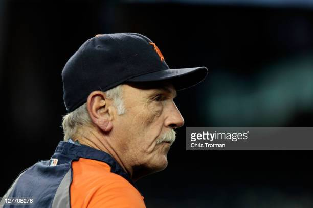 Jim Leyland of the Detroit Tigers looks on before Game One of the American League Division Series at Yankee Stadium on September 30 2011 in the Bronx...