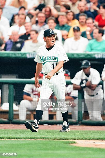 Jim Leyland of the Florida Marlins during the All-Star Game on July 7, 1998 at Coors Field in Denver, Colorado.