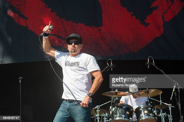 Jim Lindberg and Byron McMackin of Pennywise perform on stage during Rock In Idro at Arena Joe Strummer on May 31 2014 in Bologna Italy