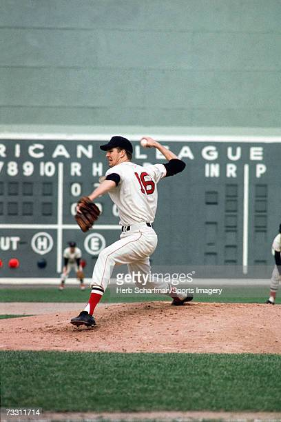 Jim Lonberg of the Boston Red Sox pitches to the St Louis Cardinals during the 1967 World Series in October 1967 at Fenway Park in Boston...