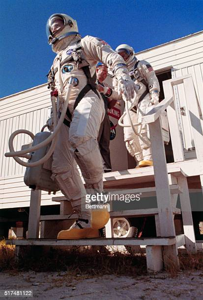 Jim Lovell leads Buzz Aldrin from ready shack November 11th as they head for the TitanII rocket and the Gemini12 space capsule atop its nose