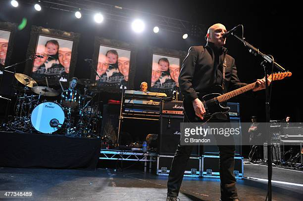 Jim MacAulay Dave Greenfield and Baz Warne of The Stranglers performs on stage at Eventim Apollo Hammersmith on March 8 2014 in London United Kingdom