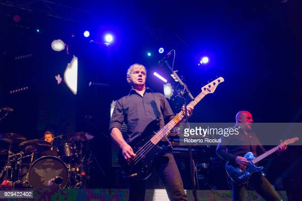 Jim MacAulay JeanJacques Burnel and Baz Warne of The Stranglers perform on stage at O2 Academy Glasgow on March 8 2018 in Glasgow Scotland