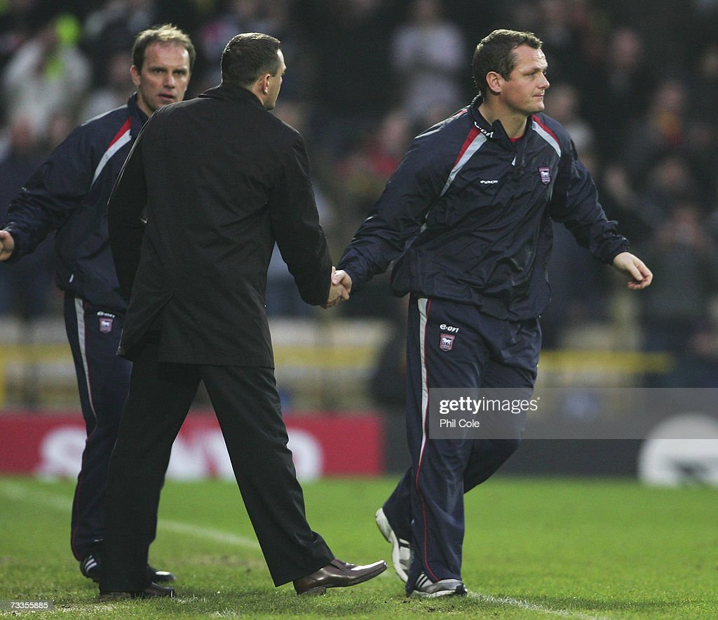 Jim Magilton manager of Ipswich Town and Aidy Boothroyd manager of Watford shake hands following the FA Cup sponsored by E.ON 5th Round match between Watford and Ipswich Town at Vicarage Road on February 17, 2007 in Watford, England.