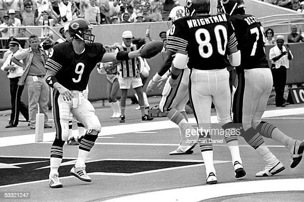 Jim Mahon of the Chicago Bears celebrates a touchdown with Tim Wrightman and Kurt Becker during the game against the Tampa Bay Buccaneers at Soldier...