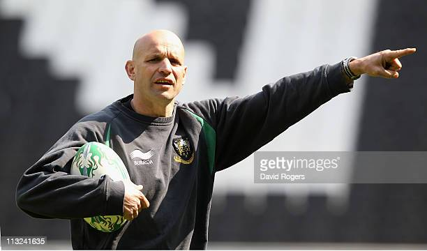 Jim Mallinder, the Northampton head coach, issues instructions during the Northampton Saints training session at Stadium MK on April 28, 2011 in...