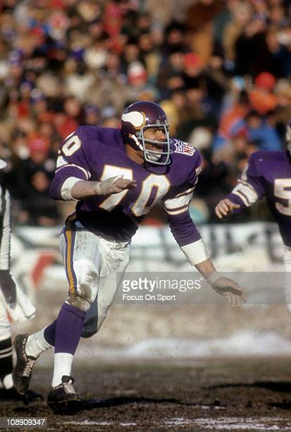 Jim Marshall of the Minnesota Vikings in action against the Cleveland Browns during an NFL football game at Metropolitan Stadium November 9 1969 in...