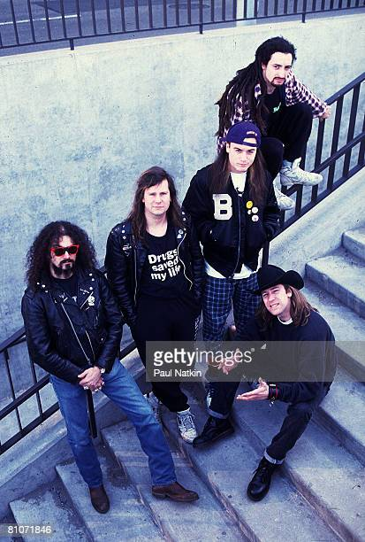 Jim Martin, Roddy Bottum, Mike Patton, Mike Bordin and Billy Gould of Faith No More on 4/1/90 in Chicago, IL.