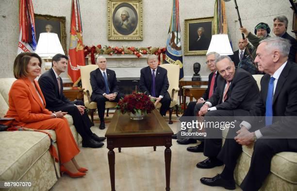 Jim Mattis US Secretary of Defense from right speaks as Senate Minority Leader Chuck Schumer a Democrat from New York Senate Majority Leader Mitch...