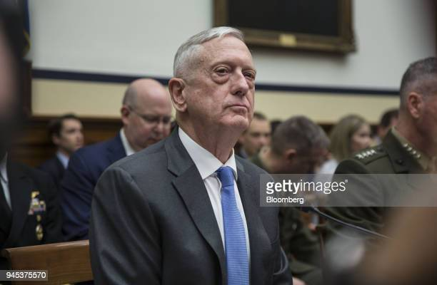 Jim Mattis US secretary of defense listens during a House Armed Services Committee hearing in Washington DC US on Thursday April 12 2018 Mattis said...