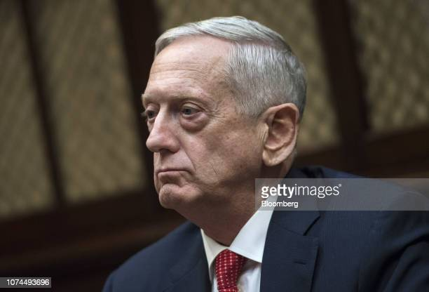 Jim Mattis US Secretary of Defense listens during a meeting with US President Donald Trump not pictured and congressional leadership in the Roosevelt...