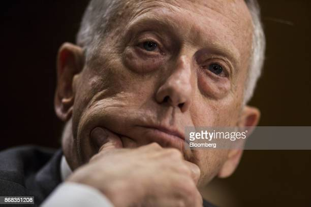 Jim Mattis US Secretary of Defense listens during a Senate Foreign Relations Committee hearing in Washington DC US on Monday Oct 30 2017...