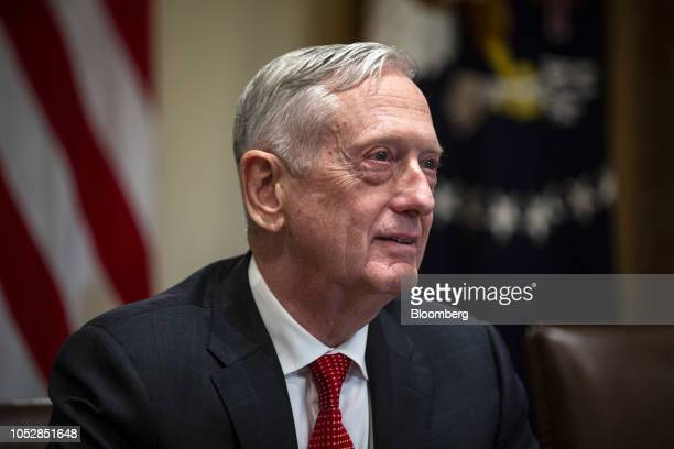 Jim Mattis US secretary of defense speaks during a briefing with senior military leaders in the Cabinet Room of the White House in Washington DC US...