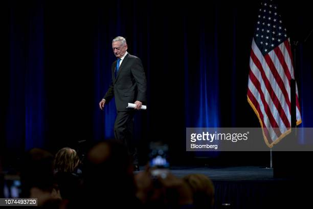 Jim Mattis US secretary of defense walks off stage after introducing US Vice President Mike Pence not pictured during an event at the Pentagon in...