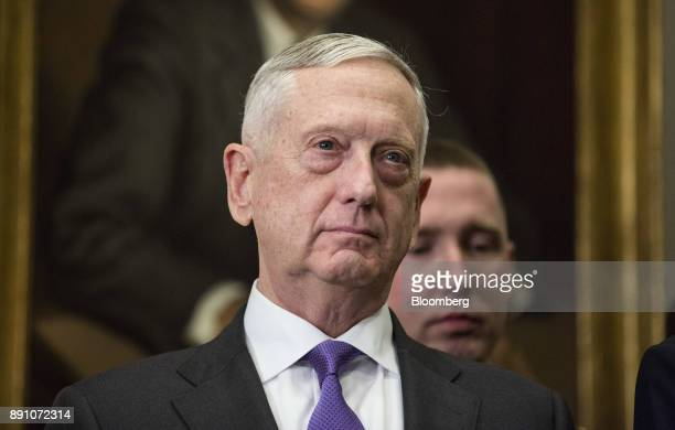 Jim Mattis US secretary of defense watches as US President Donald Trump not pictured signs the National Defense Authorization Act for fiscal year...
