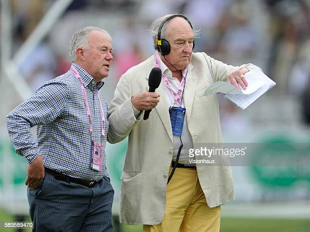 Jim Maxwell and Henry Blofeld before day three of the 2nd Investec Ashes Test between England and Australia at Lord's Cricket Ground in London UK...