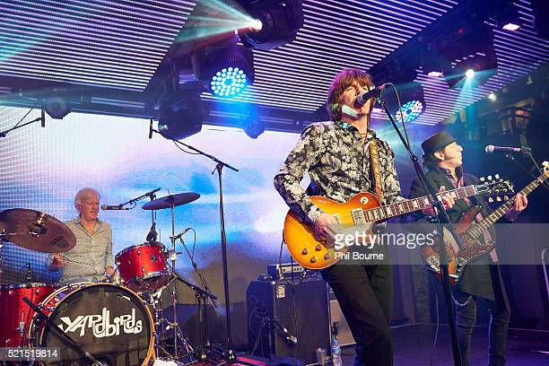 Jim McCarty John Idan and Kenny Aaronson of The Yardbirds performing at Under The Bridge on April 15 2016 in London England