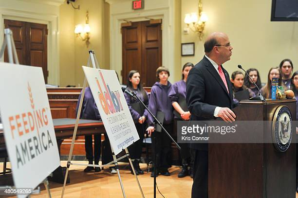 Jim McGovern speaks during a press conference during which Dunkin' Donuts and Baskin-Robbins Community Foundation give Feeding America a $1 000 check...
