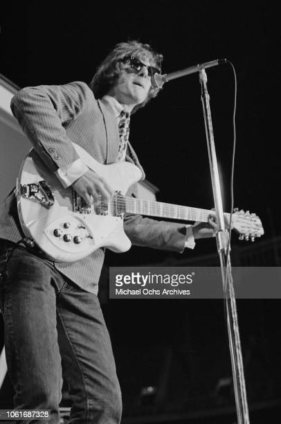 Jim McGuinn later known as Roger McGuinn frontman for American rock band The Byrds performs at Soundblast '66 at the Yankee Stadium in New York City...