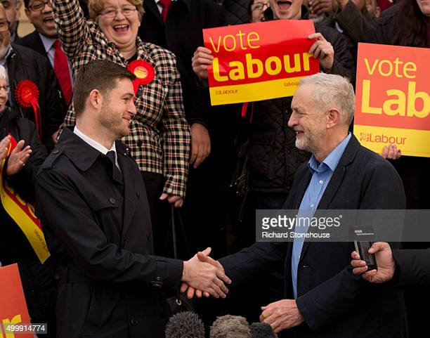 Jim McMahon MP shakes hands with Labour Party Leader Jeremy Corbyn outside the Chadderton Town Hall after winning the Oldham West and Royton...