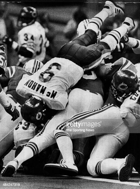 Jim McMahon of the Chicago Bears dives into the end zone circa 1980s