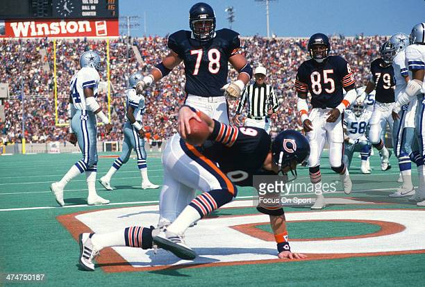 Jim McMahon of the Chicago Bears in action against the Dallas Cowboys during an NFL Football game October 16 1988 at Soldier Field in Chicago...