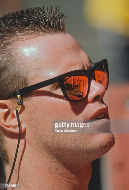 Jim McMahon of the San Diego Chargers warms up before a National Football League preseason game against the San Francisco 49ers played on August 24...