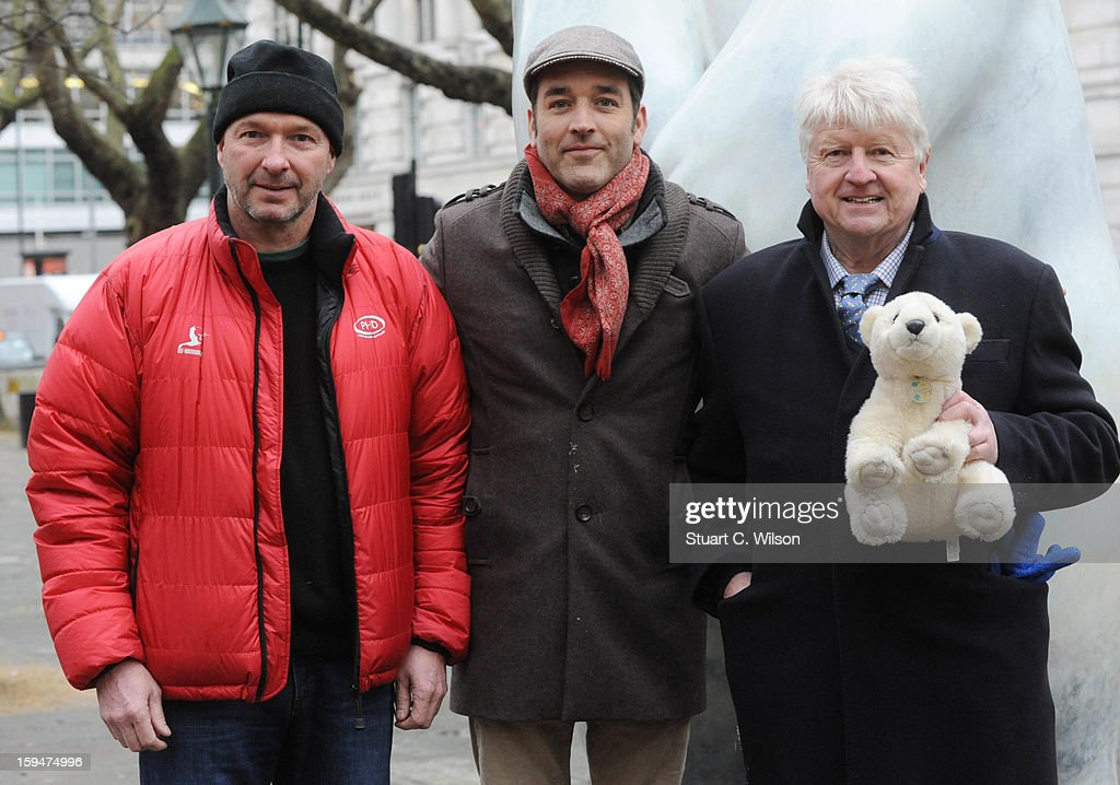 Jim McNeill, Adam Binder and Stanley Johnson attend the unveiling of the statue of 'Boris The Polar Bear' to launch the Great British campaign to save the species at Sloane Square on January 14, 2013 in London, England.