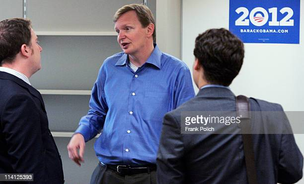 Jim Messina campaign manager for the reelection of US President Barack Obama talks with reporters during a tour of the reelection headquarters May 12...