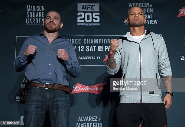 Jim Miller and Thiago Alves of Brazil pose for a picture during the UFC 205 Ultimate Media Day inside Madison Square Garden on November 9 2016 in New...