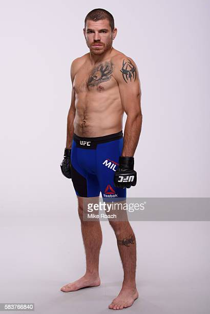 Jim Miller poses for a portrait during a UFC photo session at the Monte Carlo Resort and Casino on July 5 2016 in Las Vegas Nevada