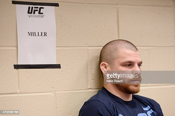 Jim Miller prepares for his fight against Beneil Dariush of Iran during the UFC Fight Night event at Prudential Center on April 18 2015 in Newark New...