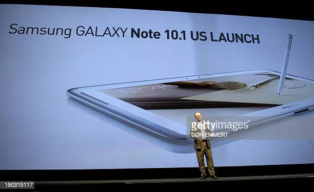 Jim Mohan Director Product Management at Adobe Systems talks about the new Samsung Galaxy Note 101 at a news conference August 15 2012 in New York...