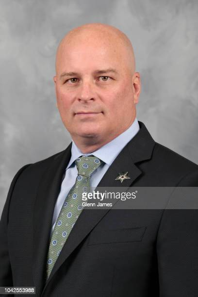 Jim Montgomery head coach of the Dallas Stars poses for his official headshot for the 20182019 season on September 13 2018 at the Dr Pepper Star...