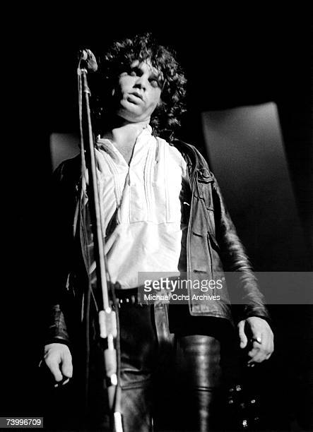 Jim Morrison of the Doors performs during their debut at the Village Theatre on September 9 1967 in New York City NY