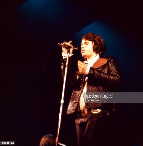 Jim Morrison of The Doors performs in a TV studio in Copenhagen, Denmark on September 18 1968.