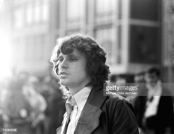 Jim Morrison of The Doors performs in the street for a TV show on September 14 1968 in Frankfurt Germany