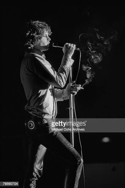 Jim Morrison of the Doors performs live on stage at the Kongresshalle on September 14 1968 in Frankfurt West Germany