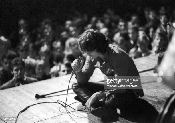 Jim Morrison of The Doors performs onstage on September 14 1968 in Frankfurt Germany